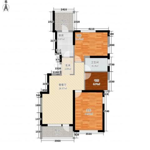保利溪湖林语三期3室1厅1卫1厨105.00㎡户型图