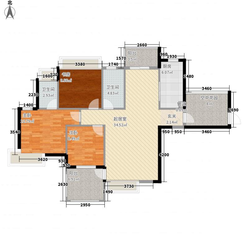 御龙湾12.34㎡A3户型3室2厅2卫2厨