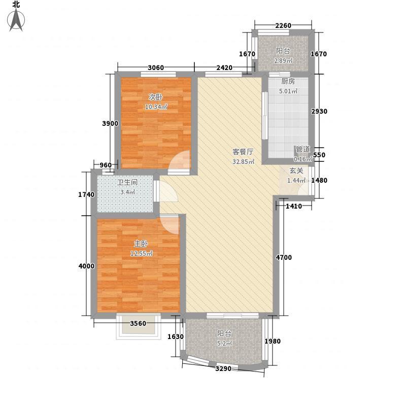 鸿运润园105.58㎡B-1户型2室2厅1卫2厨
