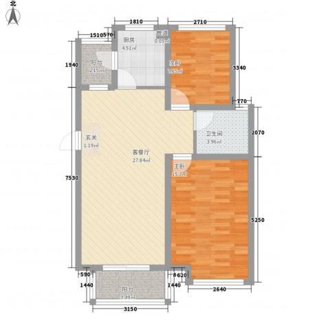 海正香醍湾2室1厅1卫1厨65.35㎡户型图