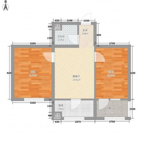 水晶恋城2室1厅1卫1厨57.00㎡户型图