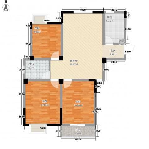 金色新城熙园3室1厅1卫1厨112.00㎡户型图