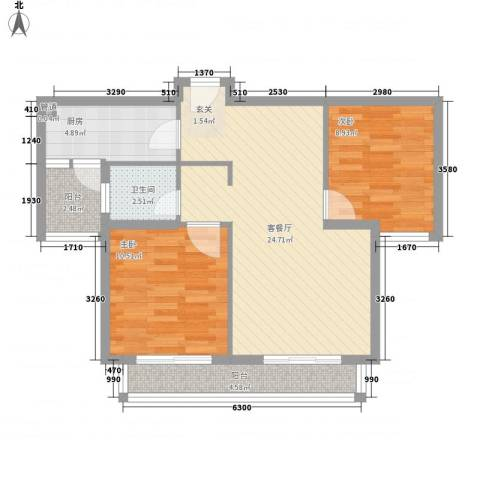 宁泽・新领域2室1厅1卫1厨85.00㎡户型图