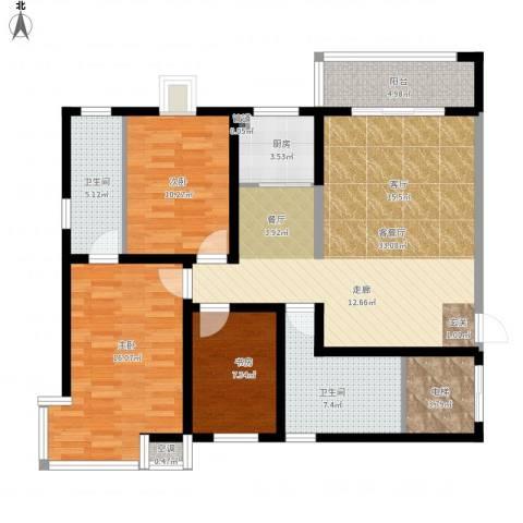 金城花园二期3室1厅2卫1厨133.00㎡户型图