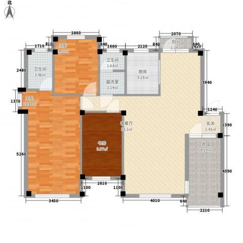 汤泉香格里3室1厅2卫1厨137.00㎡户型图