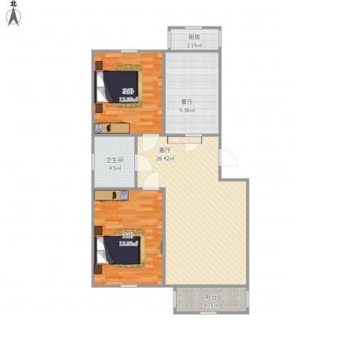 绿景家园2室2厅1卫1厨86.00㎡户型图