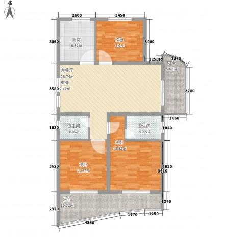 紫鑫豪庭3室1厅2卫1厨129.00㎡户型图