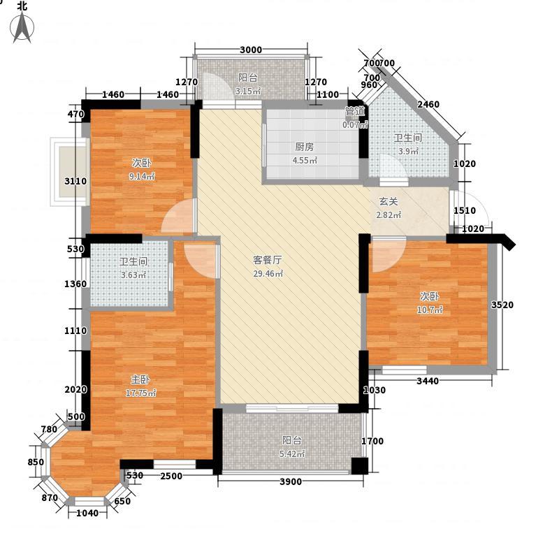 宏通・毕加索公寓7.50㎡一期1栋标准层A户型3室2厅2卫
