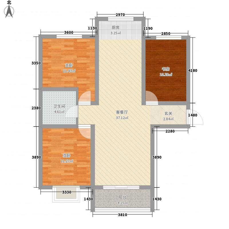 贺兰新天地112.20㎡A户型3室2厅1卫1厨
