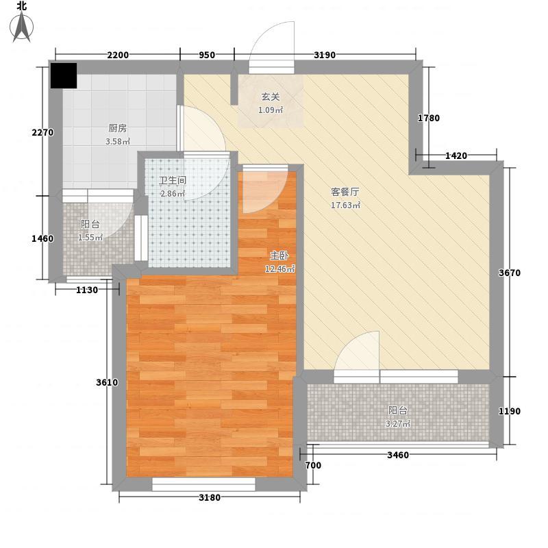 新星艾维尼小城60.00㎡新星艾维尼小城户型图7-15号楼A2户型1室1厅1卫1厨户型1室1厅1卫1厨