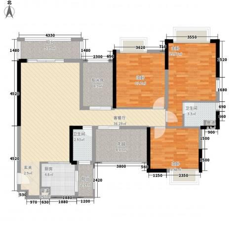 世纪城幸福公馆3室1厅2卫1厨125.00㎡户型图