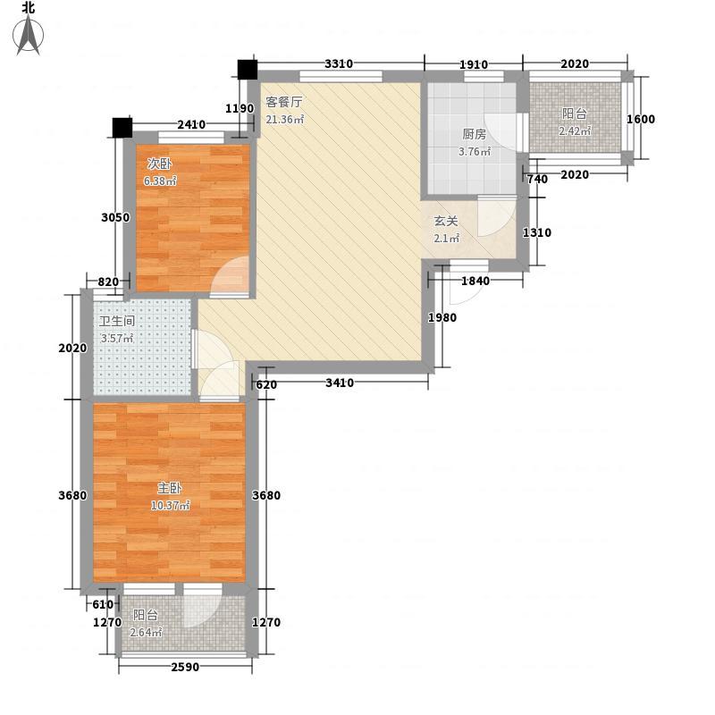 新星艾维尼小城73.00㎡新星艾维尼小城户型图7-15号楼C1户型2室2厅1卫1厨户型2室2厅1卫1厨