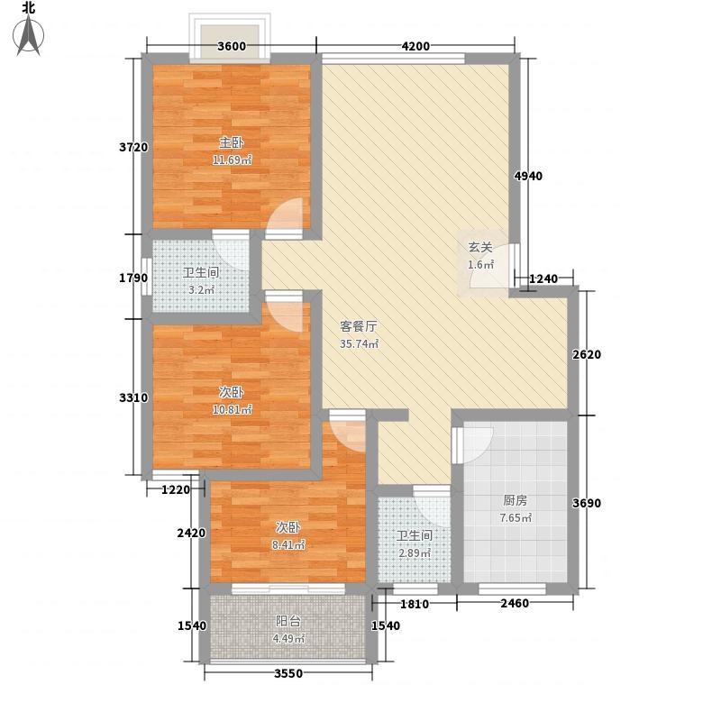 江南人家109.82㎡江南人家户型图3室2厅2卫1厨户型10室
