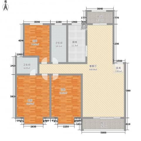 金枫苑阳光水岸3室1厅2卫1厨240.00㎡户型图