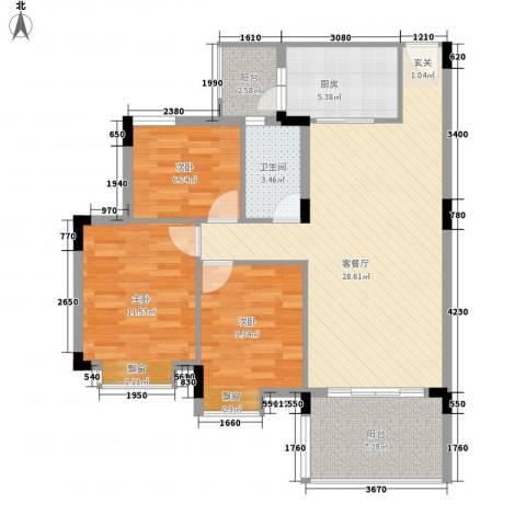 新世界花园3室1厅1卫1厨94.00㎡户型图