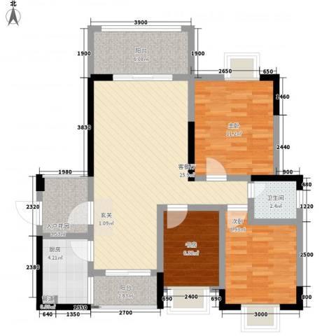 北大阳光3室1厅1卫1厨92.00㎡户型图