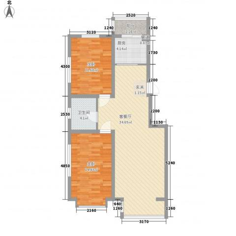阳光苑2室1厅1卫1厨101.00㎡户型图