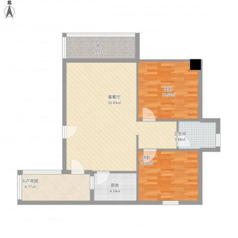 鑫荣花园2室1厅1卫1厨106.00㎡户型图