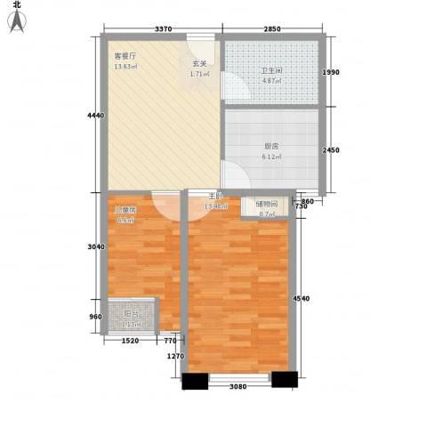远航未来城2室1厅1卫1厨66.00㎡户型图