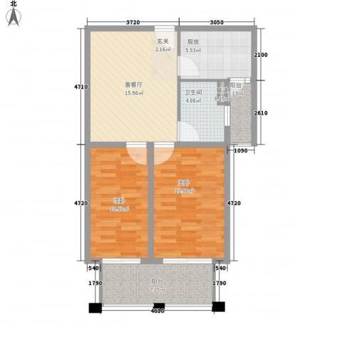 远航未来城2室1厅1卫1厨83.00㎡户型图