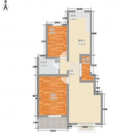 福馨景苑2室1厅1卫0厨75.41㎡户型图