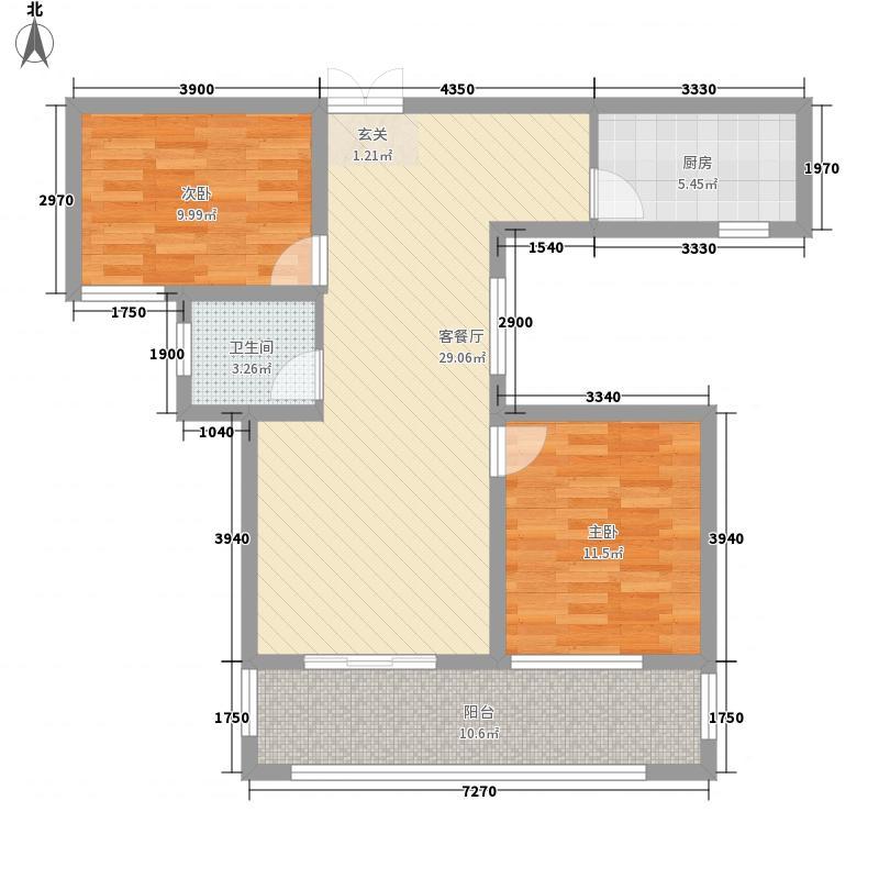 会昌天玺湾2.00㎡A-2户型2室2厅1卫1厨