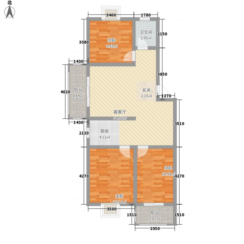 西城新都6.68㎡A户型3室2厅1卫1厨