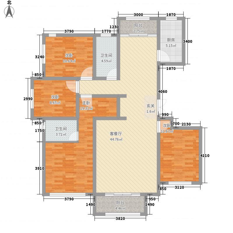 金域蓝湾167.00㎡E户型4室2厅2卫1厨