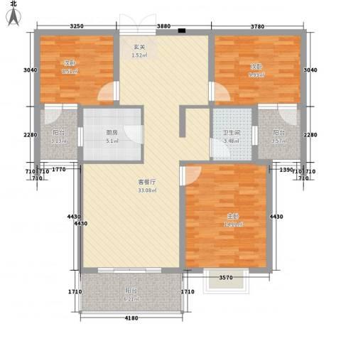 港岛玫瑰园3室1厅1卫1厨124.00㎡户型图