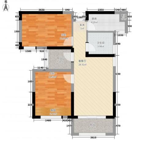首创悦府2室1厅1卫1厨87.00㎡户型图
