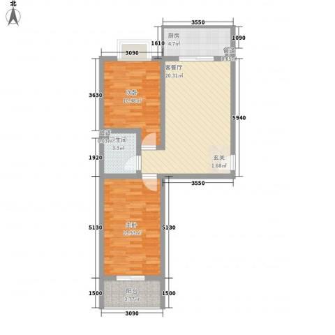奥梅花园2室1厅1卫1厨82.00㎡户型图
