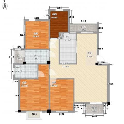 万达广场公寓4室1厅2卫1厨140.00㎡户型图
