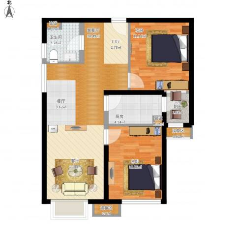 东洲家园2室1厅1卫1厨70.48㎡户型图