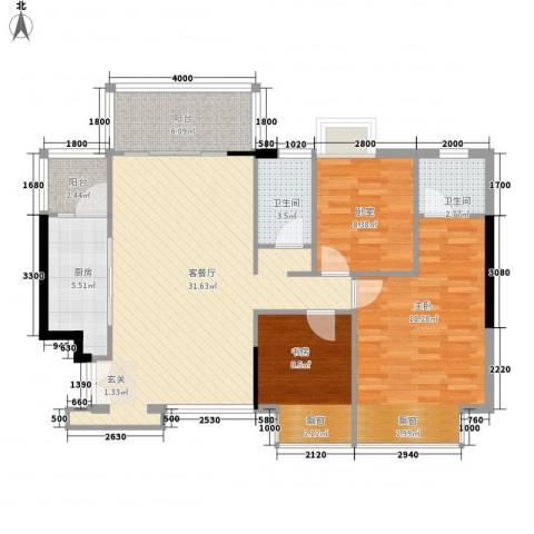 合正锦园2室1厅2卫1厨121.00㎡户型图