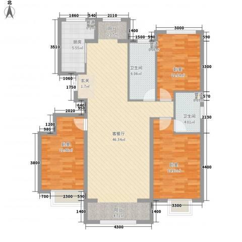 保利香槟湾1厅2卫1厨132.00㎡户型图