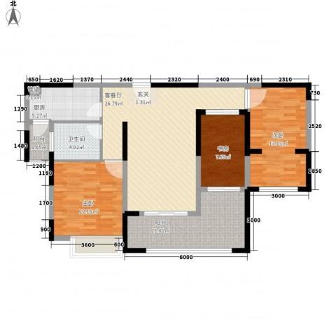 华邦光明世家3室1厅1卫1厨82.45㎡户型图