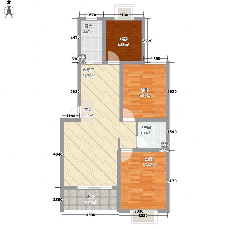 奥梅花园E1户型 3室2厅1卫1厨 102.73㎡
