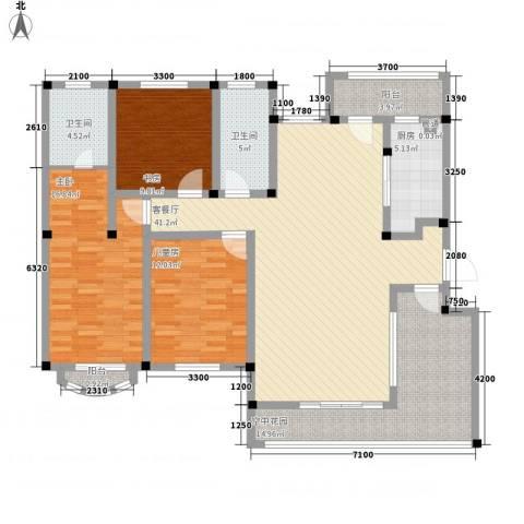 城开国际学园3室1厅2卫1厨134.00㎡户型图