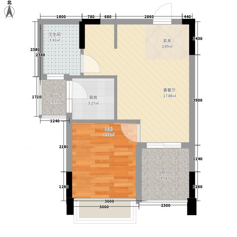尚书房户型图F3户型 1室1厅1卫1厨