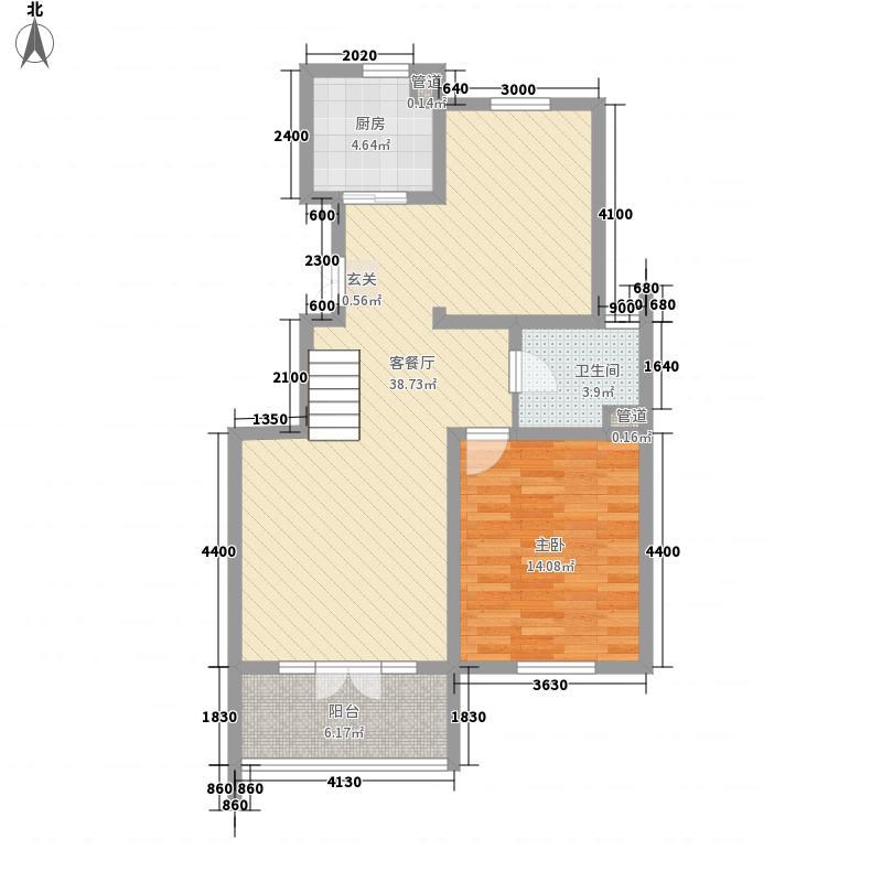 众一福满苑123.55㎡11-12栋跃层H2副本户型1室2厅1卫1厨