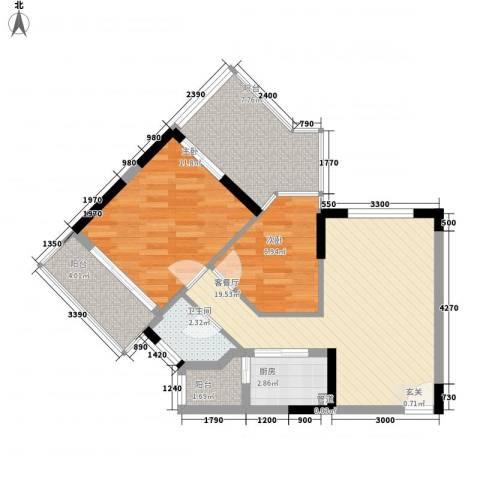 尚书苑2室1厅1卫1厨82.00㎡户型图