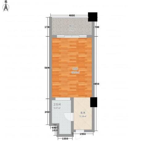 国际公寓1室0厅1卫0厨53.00㎡户型图