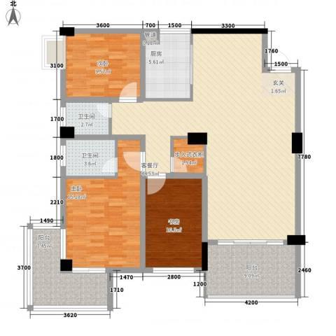 浏阳河畔3室1厅2卫1厨138.00㎡户型图