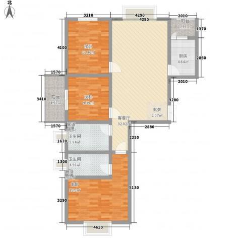 万聚鑫盛苑3室1厅2卫1厨131.00㎡户型图