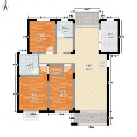 辉华大厦3室1厅2卫1厨131.00㎡户型图