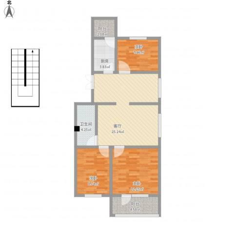 郁花园一里3室1厅1卫1厨98.00㎡户型图