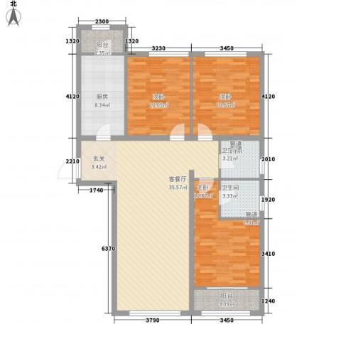 紫金广场3室1厅2卫1厨146.00㎡户型图