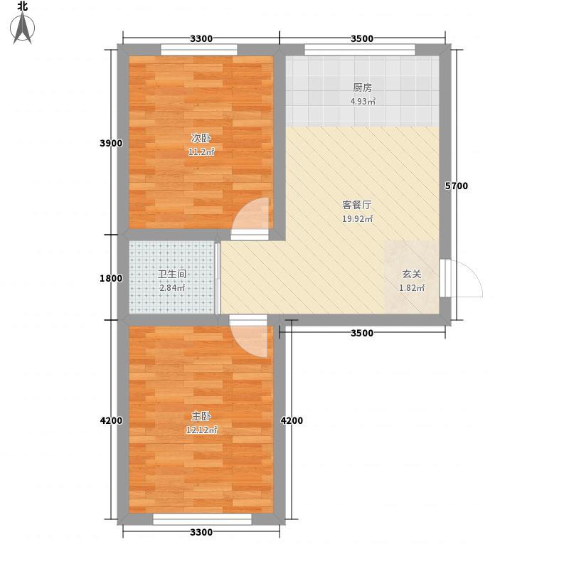华运・贻翔苑64.35㎡多层7#标准层C户型2室1厅1卫