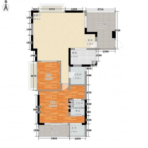 万科棠樾2室1厅2卫1厨129.00㎡户型图