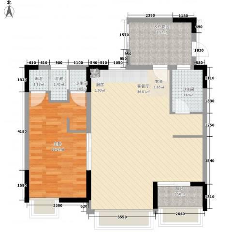 万科棠樾1室1厅2卫0厨90.00㎡户型图